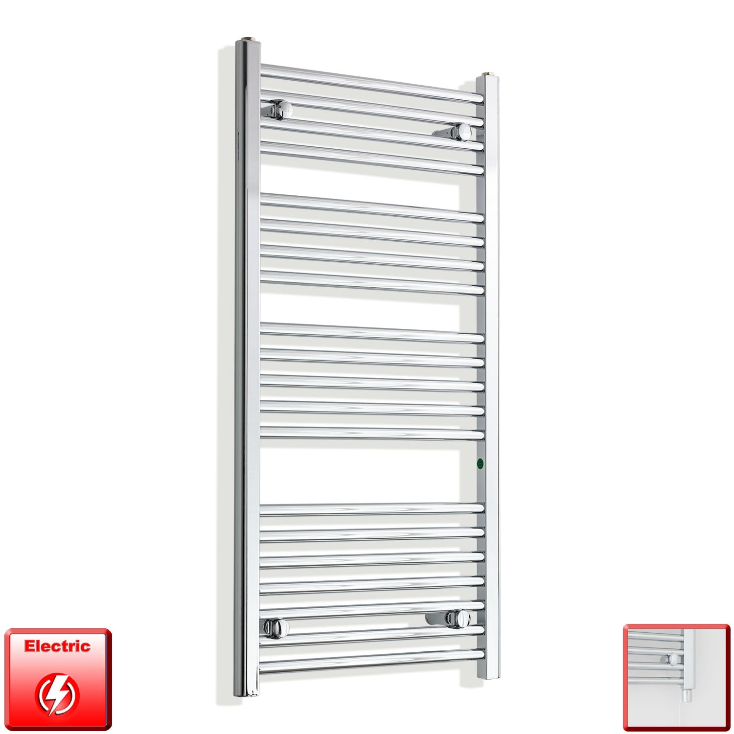 550mm Wide 1100mm High Pre-Filled Chrome Electric Towel Rail Radiator With Single Heat Element