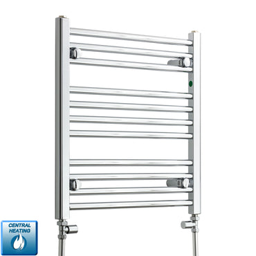 550mm Wide 600mm High Straight Chrome Heated Towel Rail Radiator HTR Central Heating,With Straight Valve