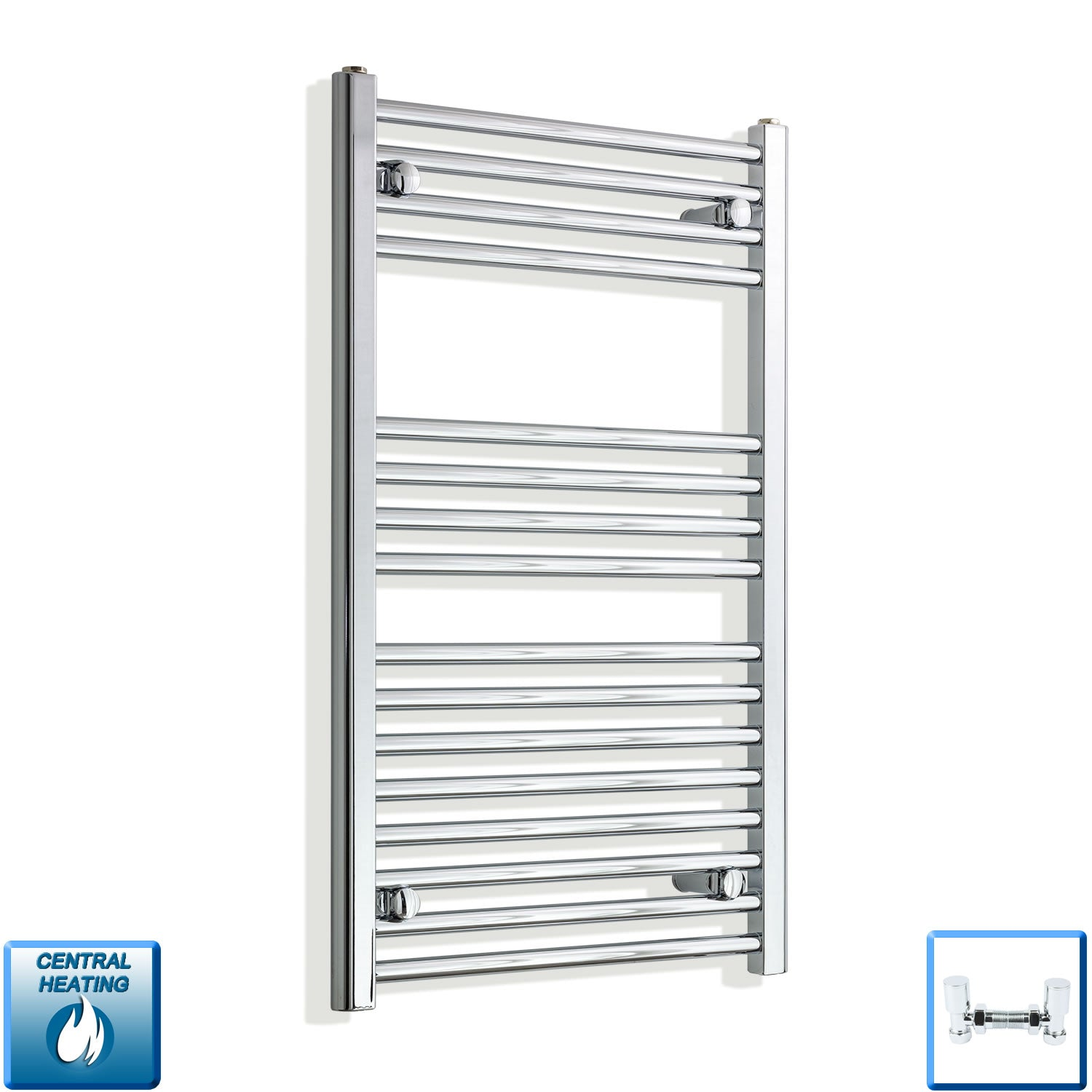550mm Wide 900mm High Straight Chrome Heated Towel Rail Radiator HTR Central Heating,With Angled Valve