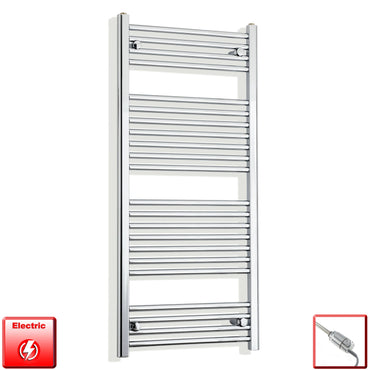 600mm Wide 1200mm High Flat Chrome Pre-Filled Electric Heated Towel Rail Radiator HTR,GT Thermostatic