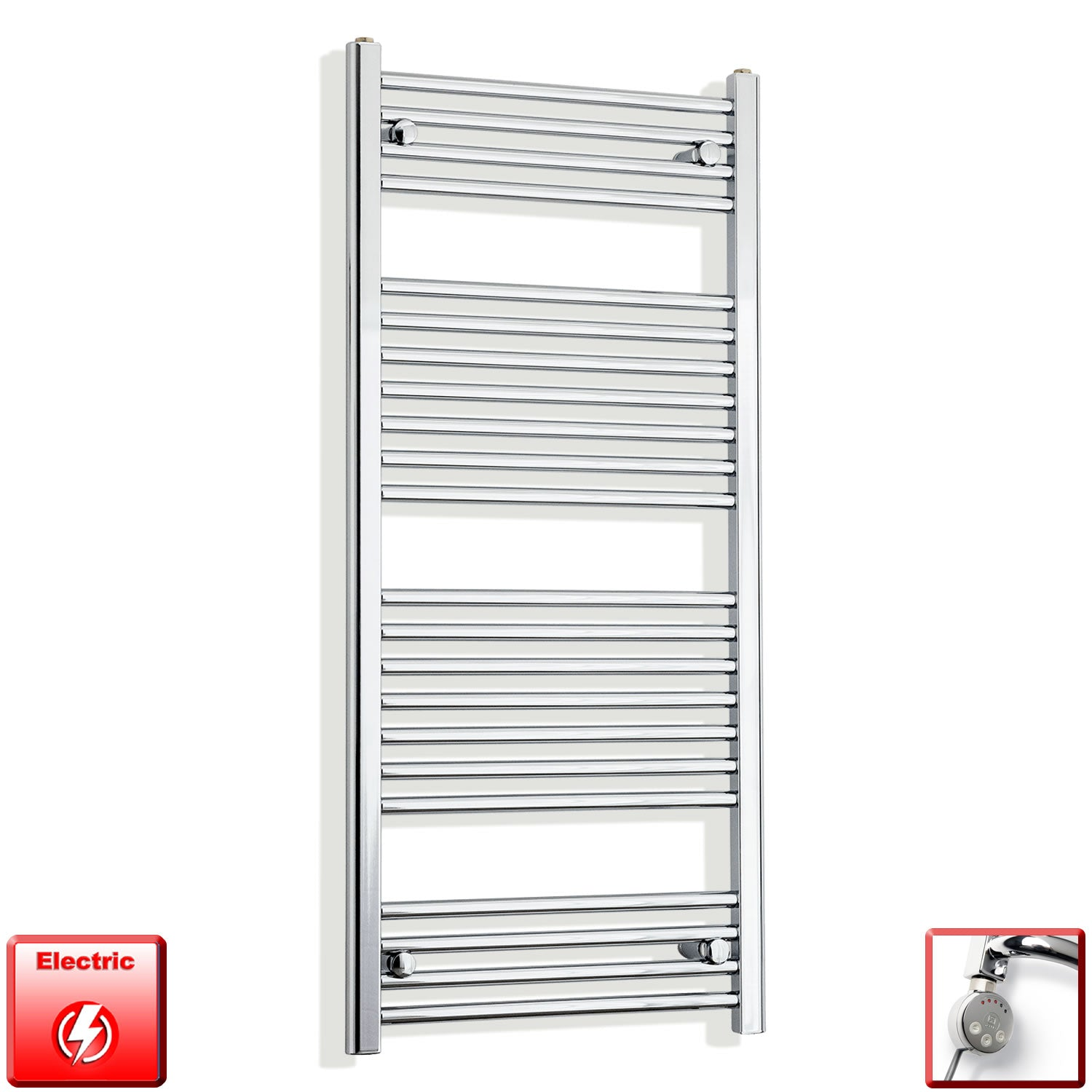 600mm Wide 1200mm High Flat Chrome Pre-Filled Electric Heated Towel Rail Radiator HTR,MEG Thermostatic Element