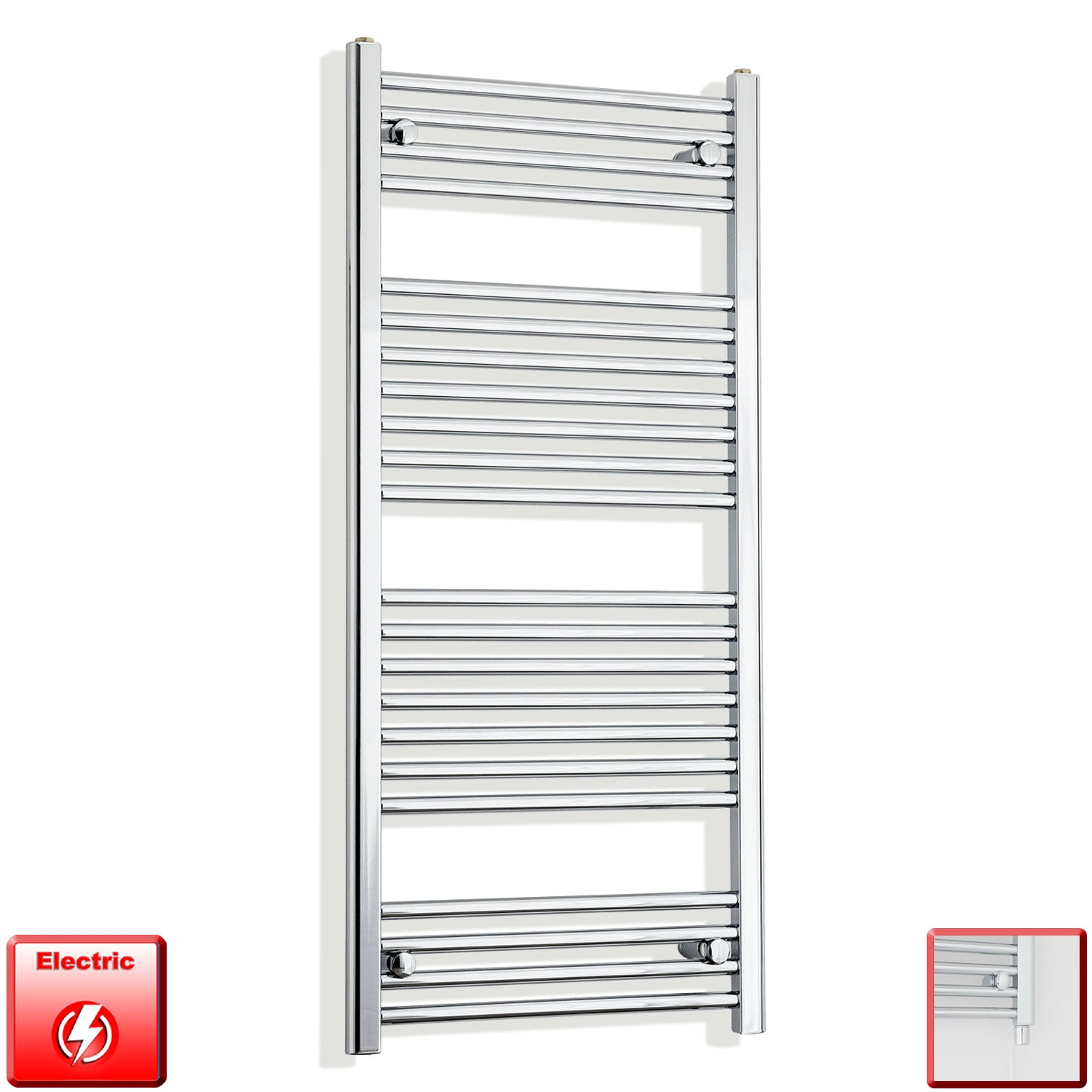 600mm Wide 1200mm High Flat Chrome Pre-Filled Electric Heated Towel Rail Radiator HTR,Single Heat Element