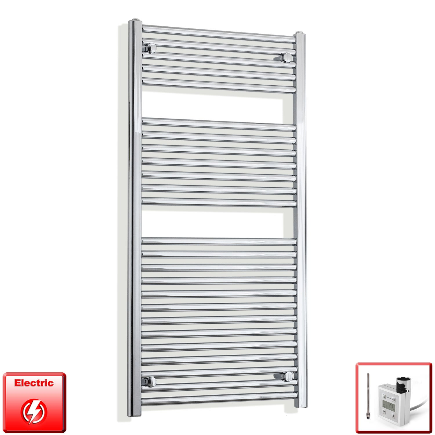 500mm Wide 1200mm High Flat Chrome Pre-Filled Electric Heated Towel Rail Radiator HTR,KTX-3 Thermostatic Element