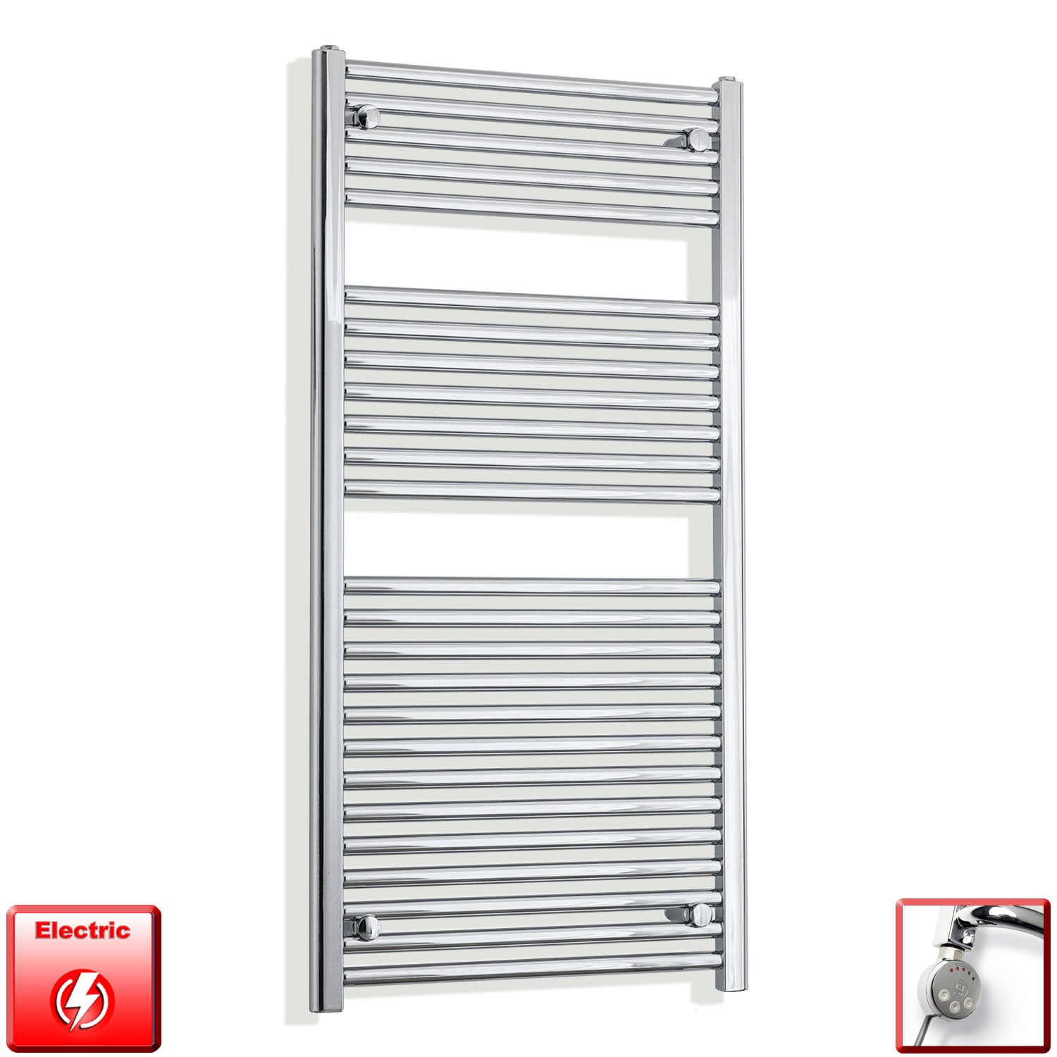 500mm Wide 1200mm High Flat Chrome Pre-Filled Electric Heated Towel Rail Radiator HTR,MEG Thermostatic Element