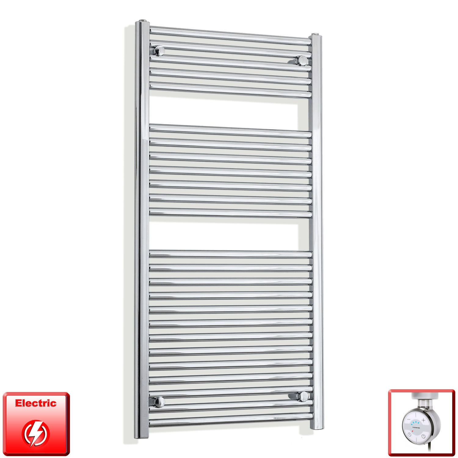 500mm Wide 1200mm High Flat Chrome Pre-Filled Electric Heated Towel Rail Radiator HTR,MOA Thermostatic Element
