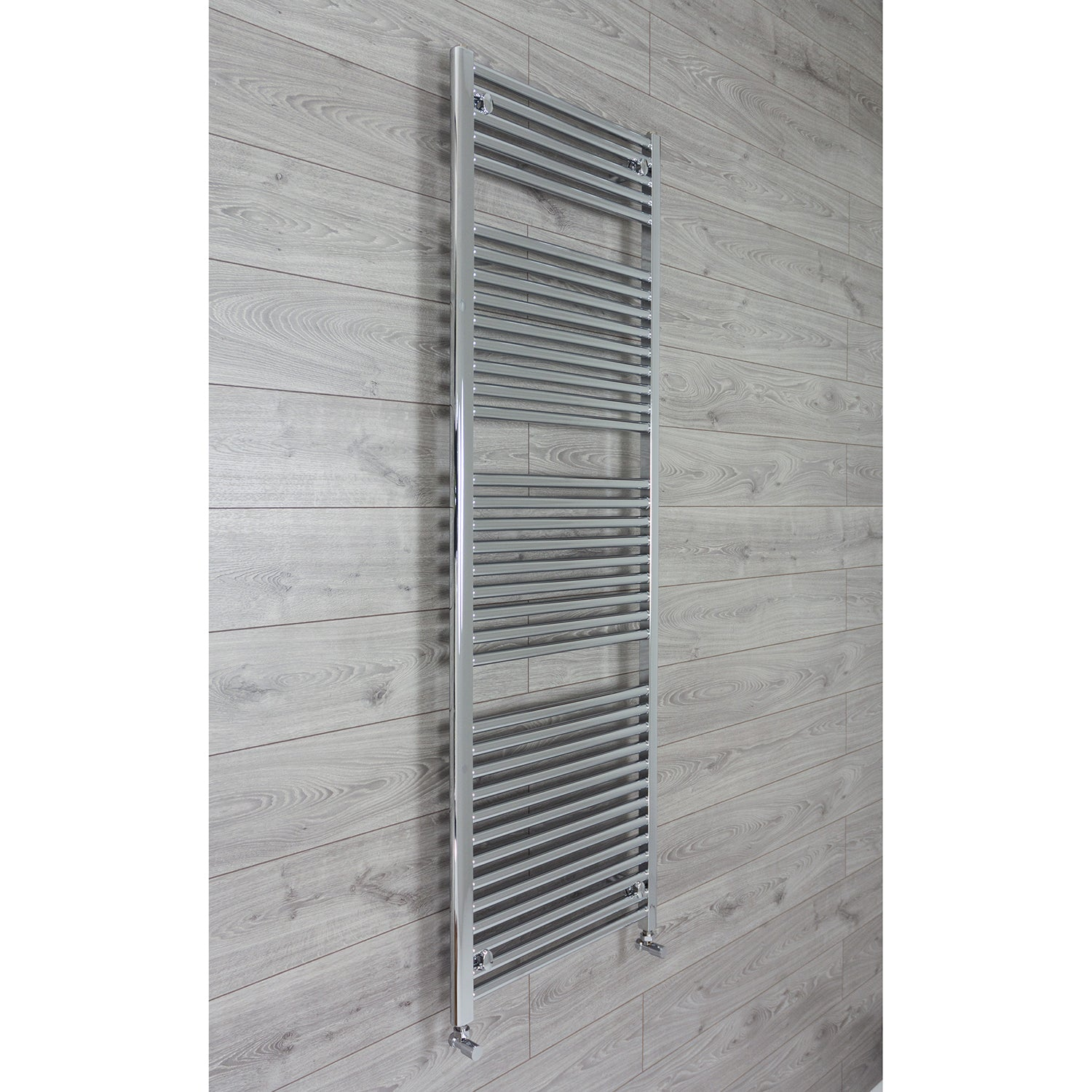 600mm Wide 1744mm High 25mm Tubes Curved Chrome Heated Towel Rail Radiator HTR,With Angled Valve