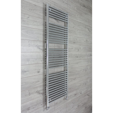 600mm Wide 1744mm High 25mm Tubes Curved Chrome Heated Towel Rail Radiator HTR,With Straight Valve