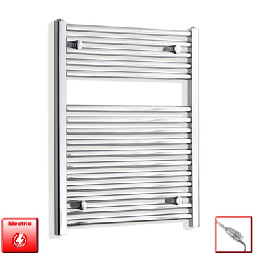 600mm Wide 800mm High Flat Chrome Pre-Filled Electric Heated Towel Rail Radiator HTR,GT Thermostatic