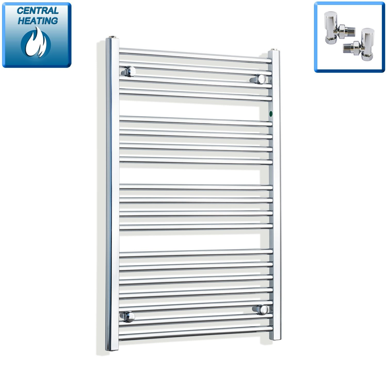 650mm Wide 1000mm High Flat Chrome Heated Towel Rail Radiator HTR,With Angled Valve