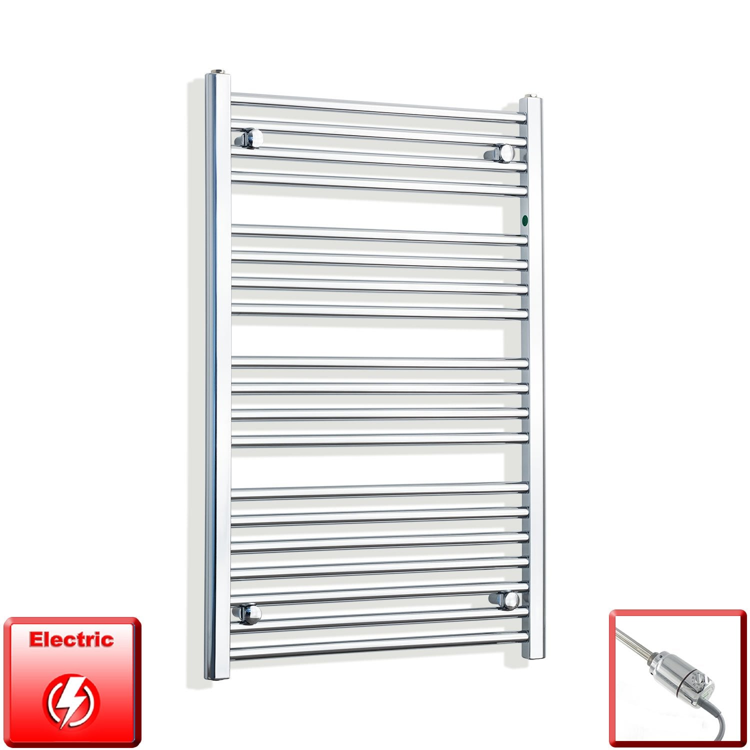 650mm Wide 1000mm High Flat Chrome Pre-Filled Electric Heated Towel Rail Radiator HTR,GT Thermostatic