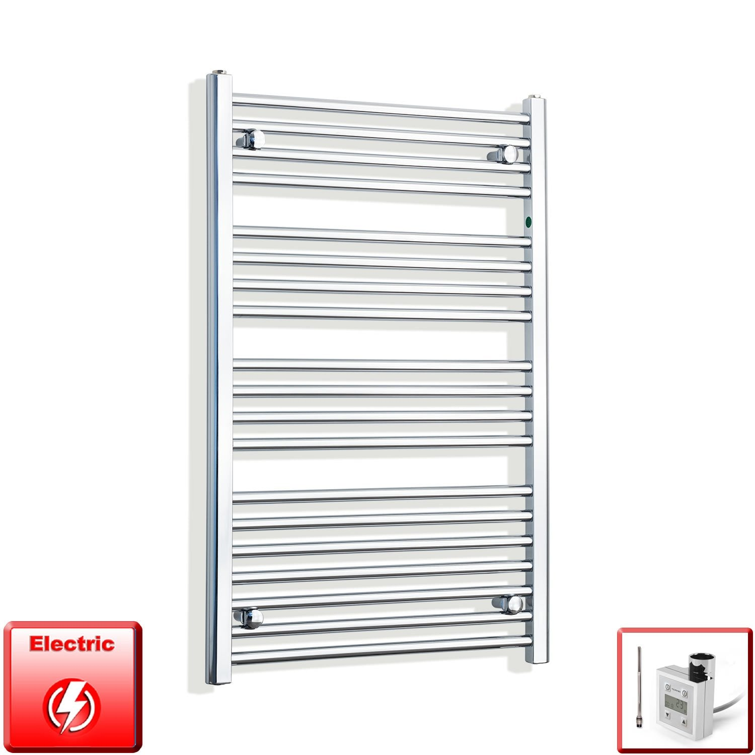 650mm Wide 1000mm High Flat Chrome Pre-Filled Electric Heated Towel Rail Radiator HTR,KTX-3 Thermostatic Element