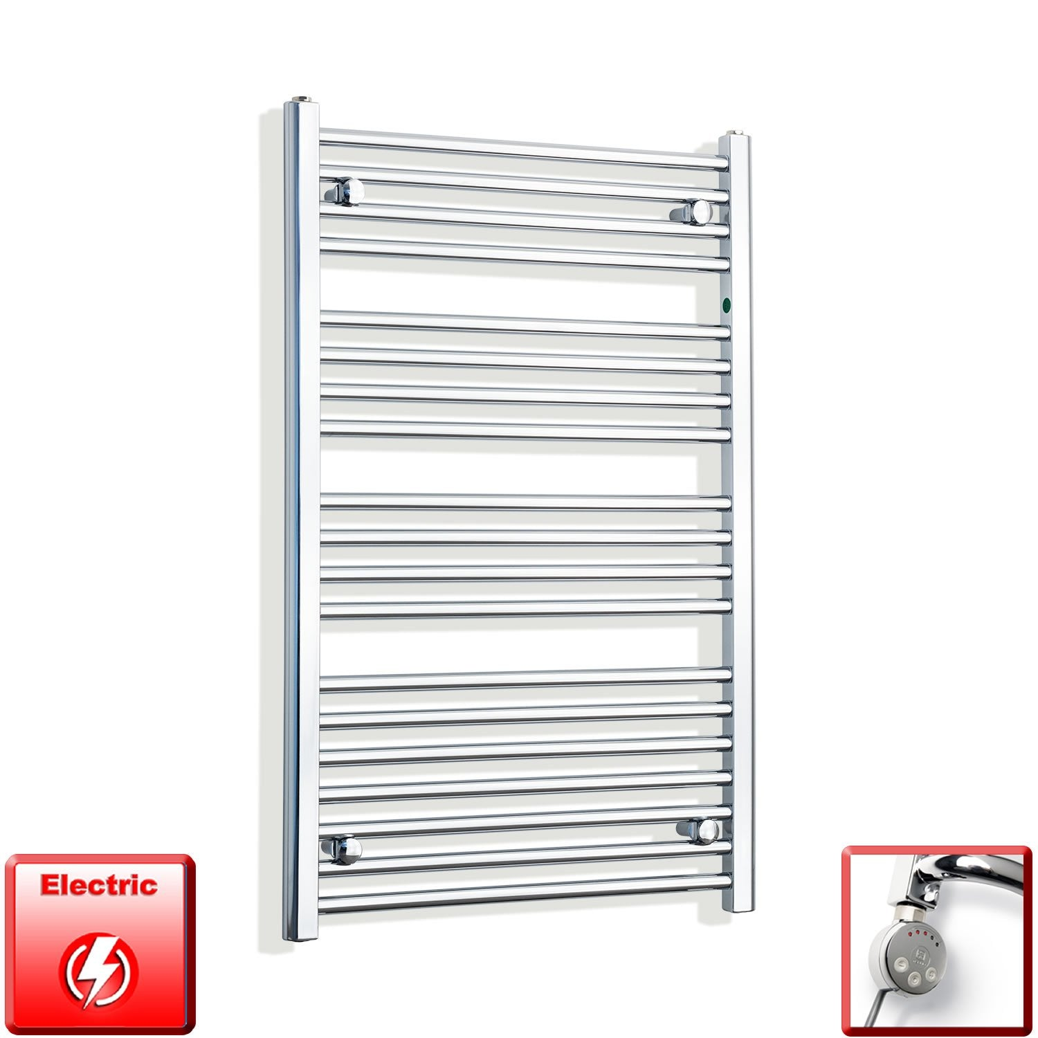 650mm Wide 1000mm High Flat Chrome Pre-Filled Electric Heated Towel Rail Radiator HTR,MEG Thermostatic Element