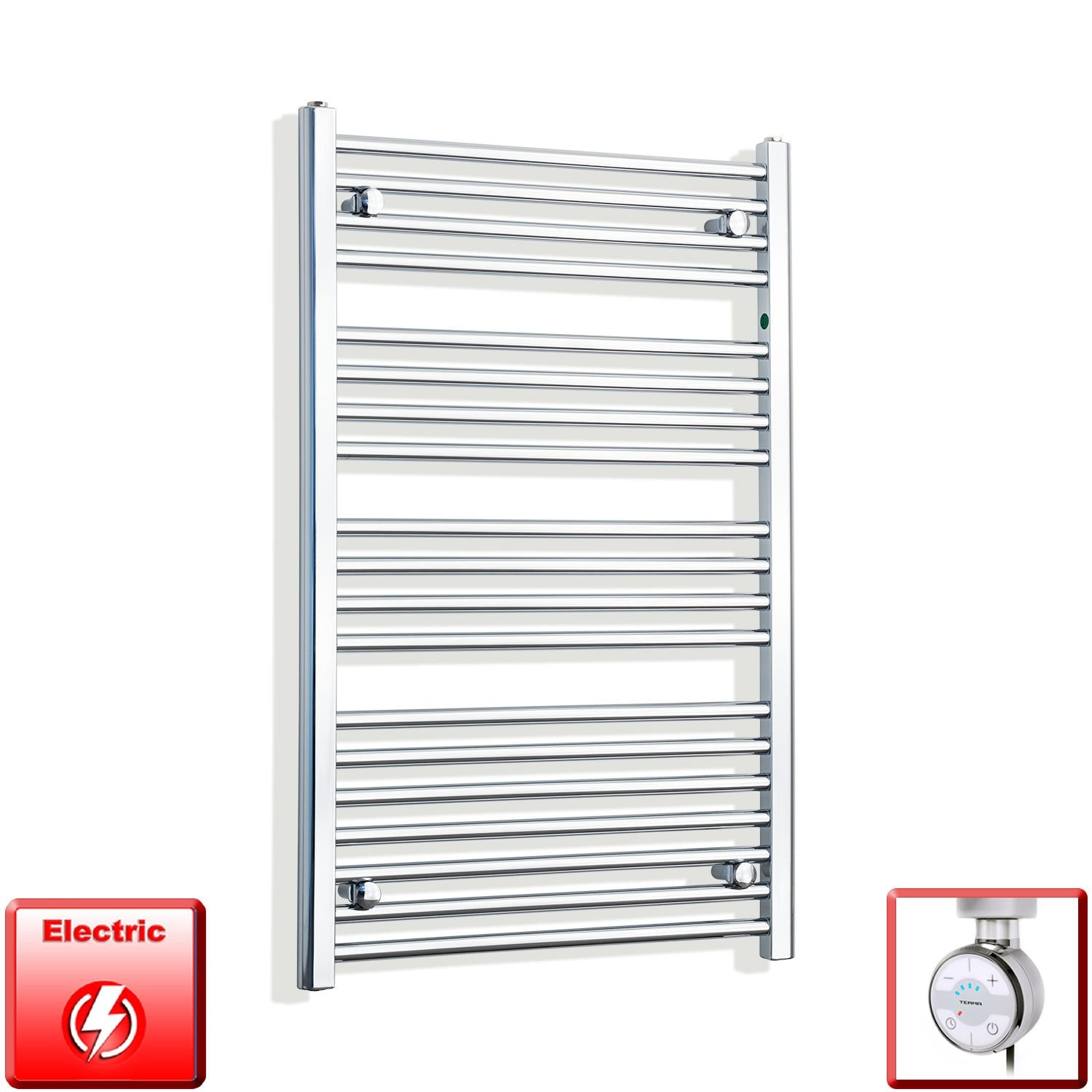650mm Wide 1000mm High Flat Chrome Pre-Filled Electric Heated Towel Rail Radiator HTR,MOA Thermostatic Element