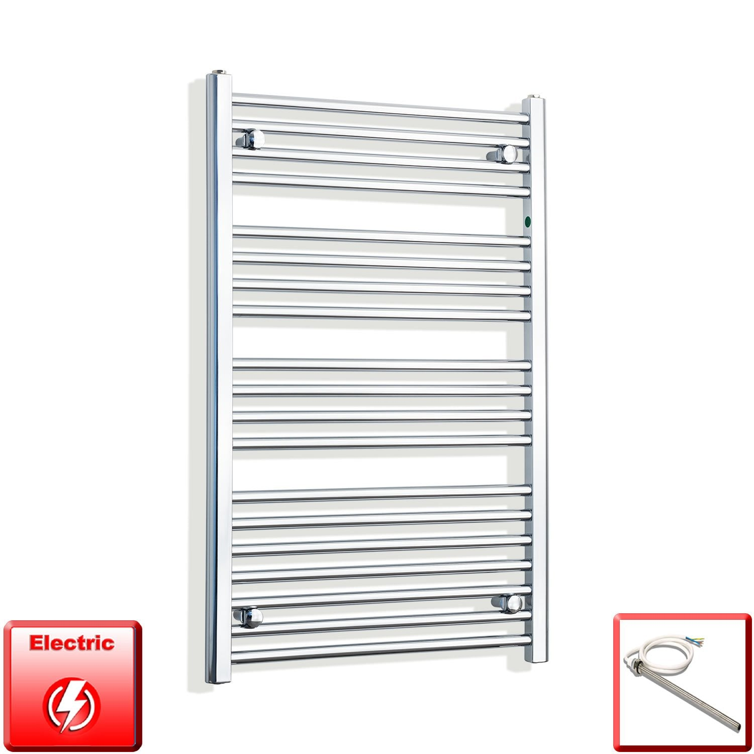 650mm Wide 1000mm High Flat Chrome Pre-Filled Electric Heated Towel Rail Radiator HTR,Single Heat Element