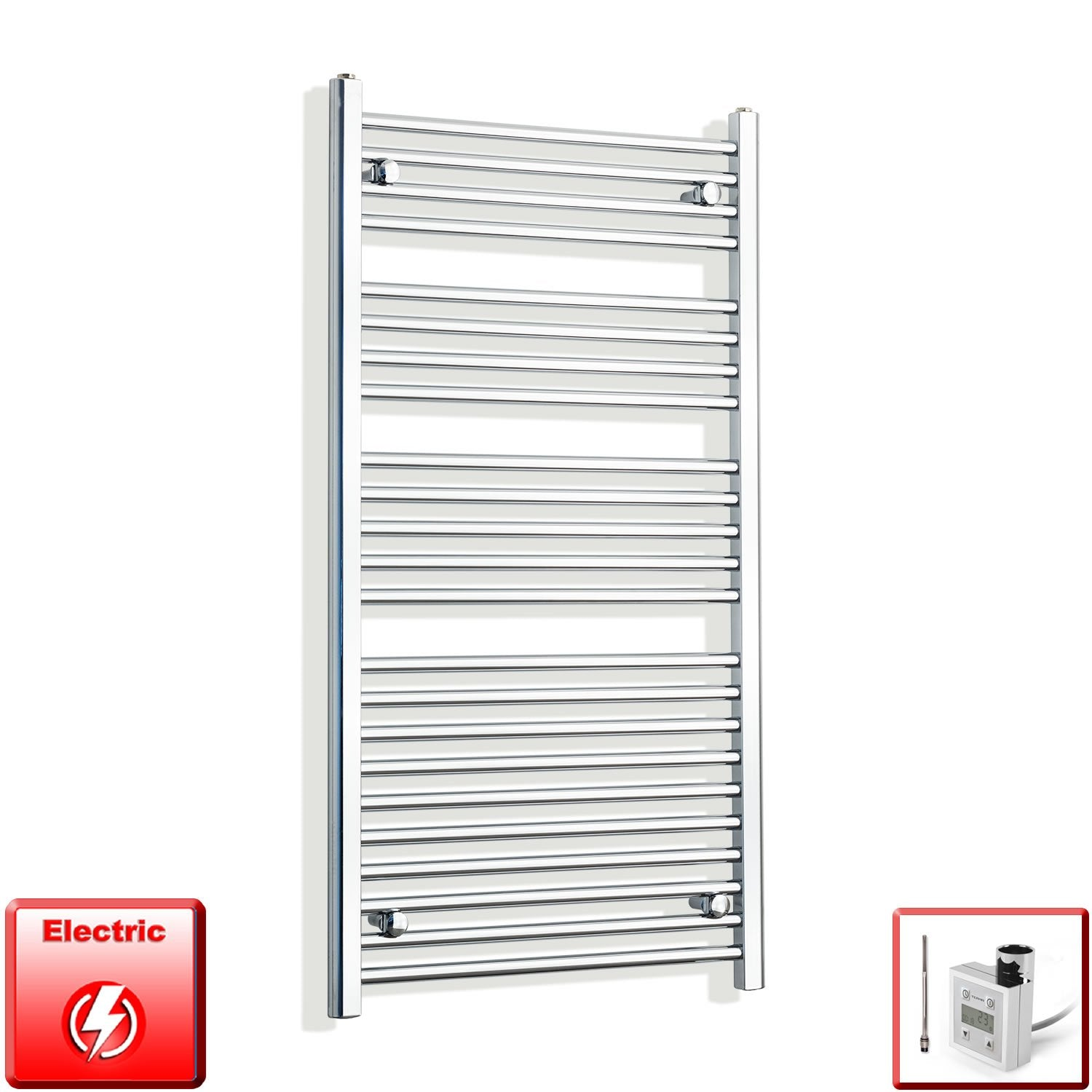 650mm Wide 1200mm High Flat Chrome Pre-Filled Electric Heated Towel Rail Radiator HTR,KTX-3 Thermostatic Element