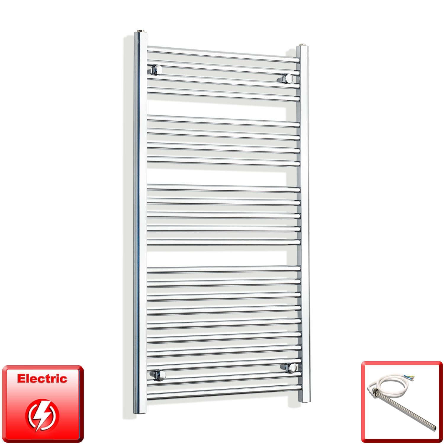 650mm Wide 1200mm High Flat Chrome Pre-Filled Electric Heated Towel Rail Radiator HTR,Single Heat Element