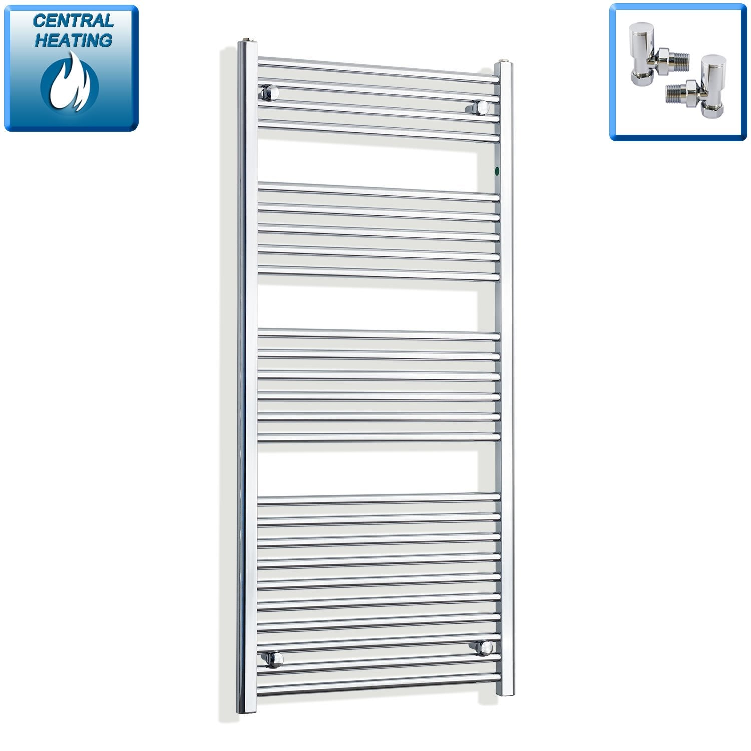 650mm Wide 1400mm High Flat Chrome Heated Towel Rail Radiator HTR,With Angled Valve