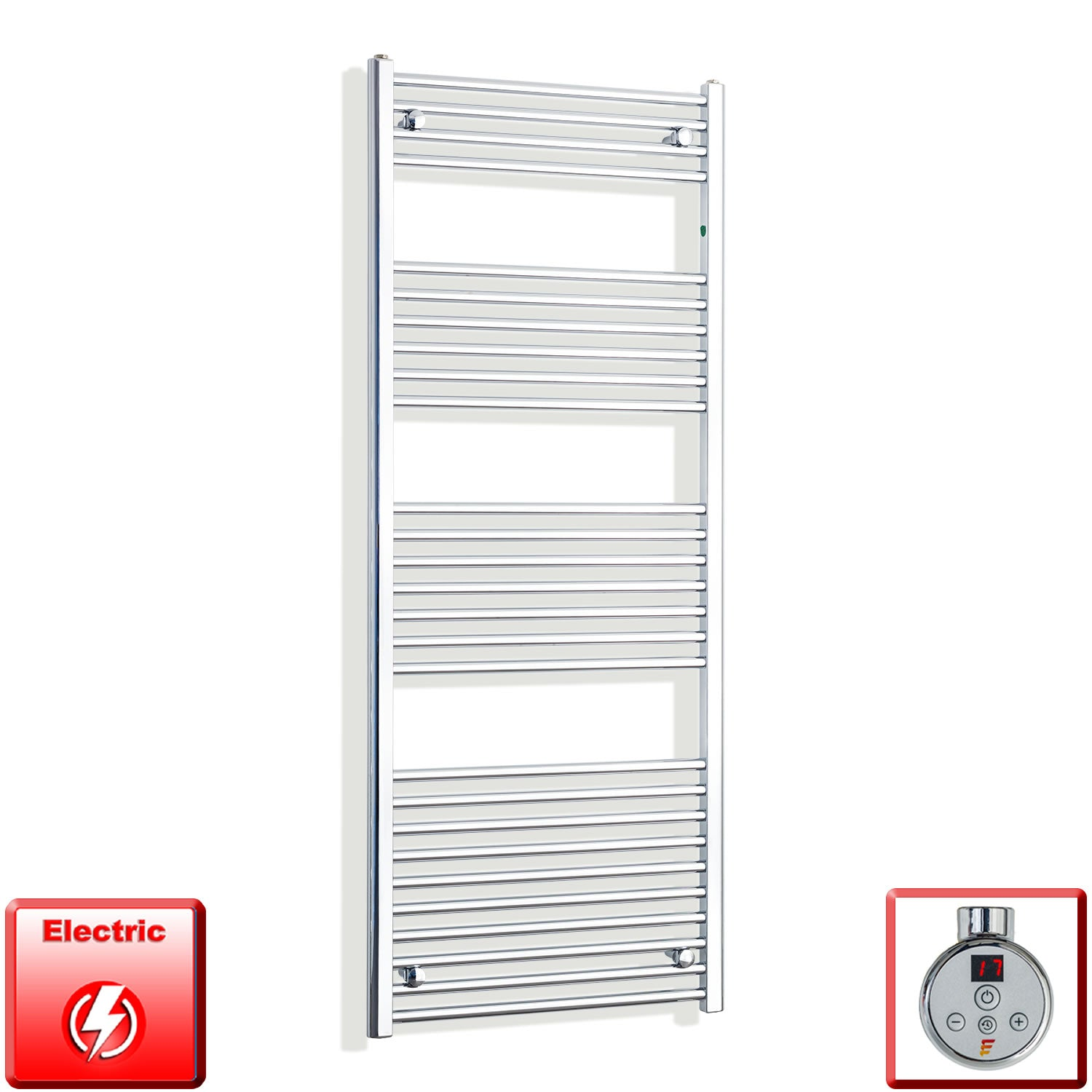 600mm Wide 1600mm High Pre-Filled Chrome Electric Towel Rail Radiator With Thermostatic DIGI Element