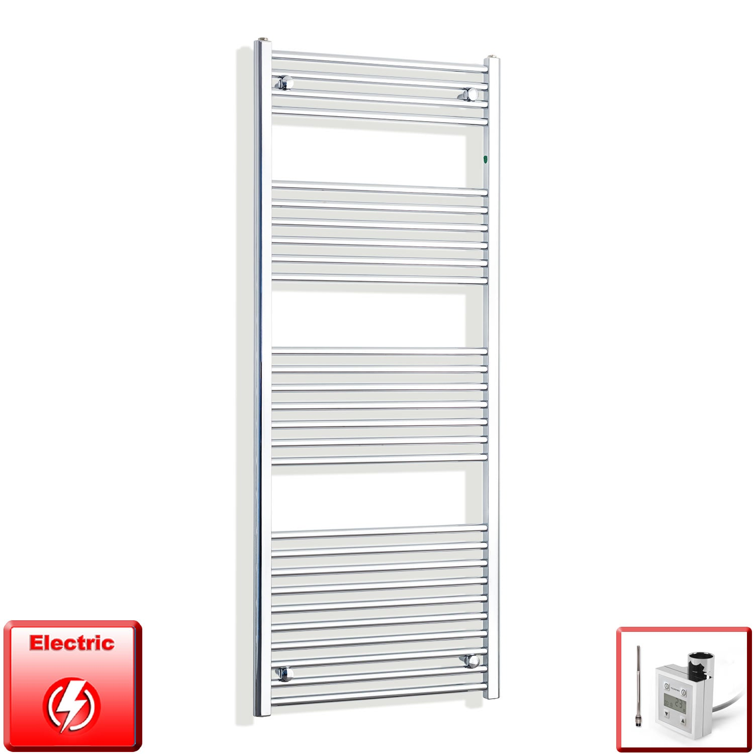 600mm Wide 1600mm High Pre-Filled Chrome Electric Towel Rail Radiator With Thermostatic KTX3 Element