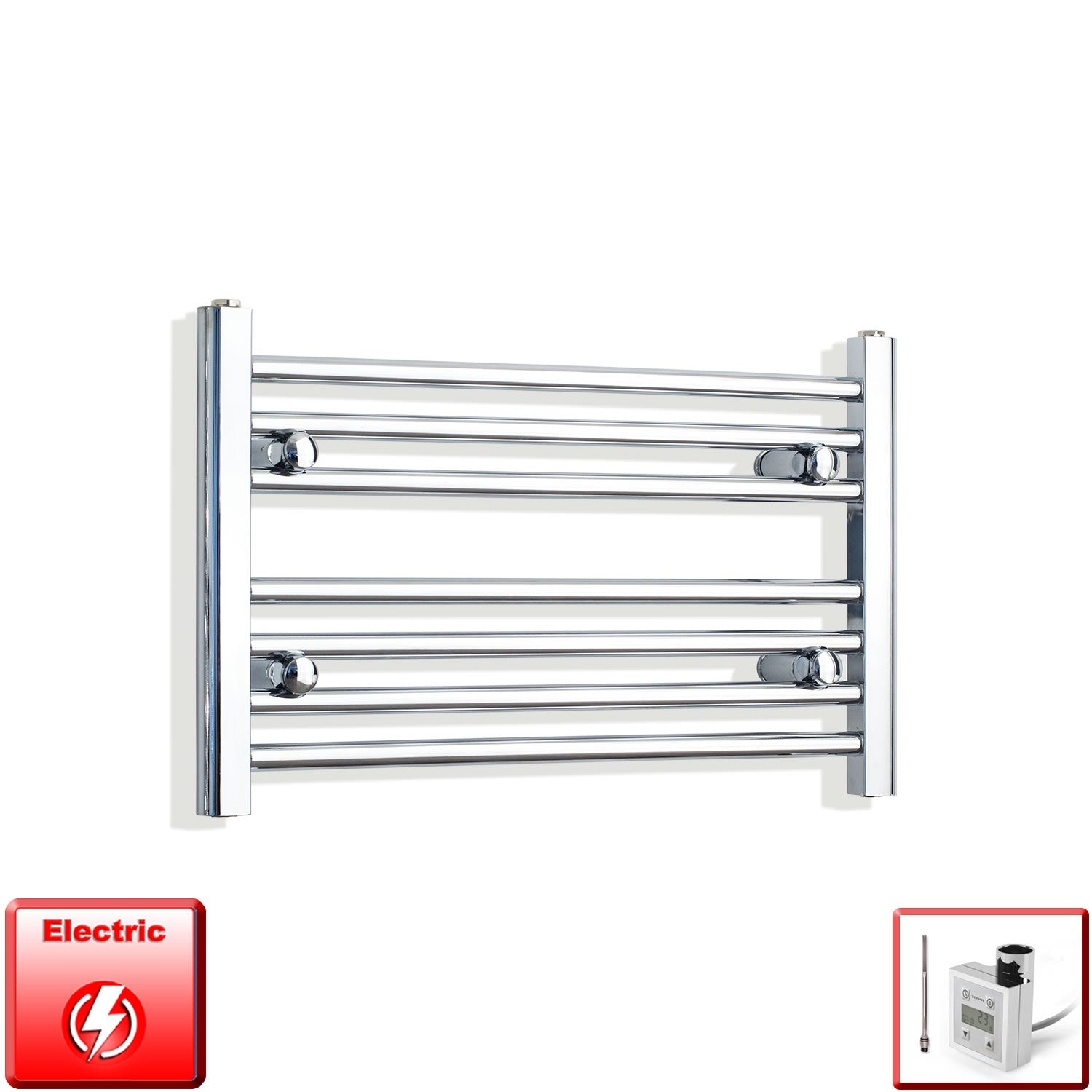 850mm Wide 400mm High Flat Chrome Pre-Filled Electric Heated Towel Rail Radiator HTR,KTX-3 Thermostatic Element