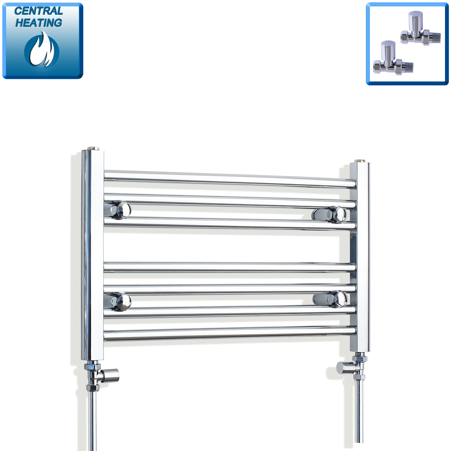 600mm Wide 400mm High Chrome Towel Rail Radiator With Straight Valve