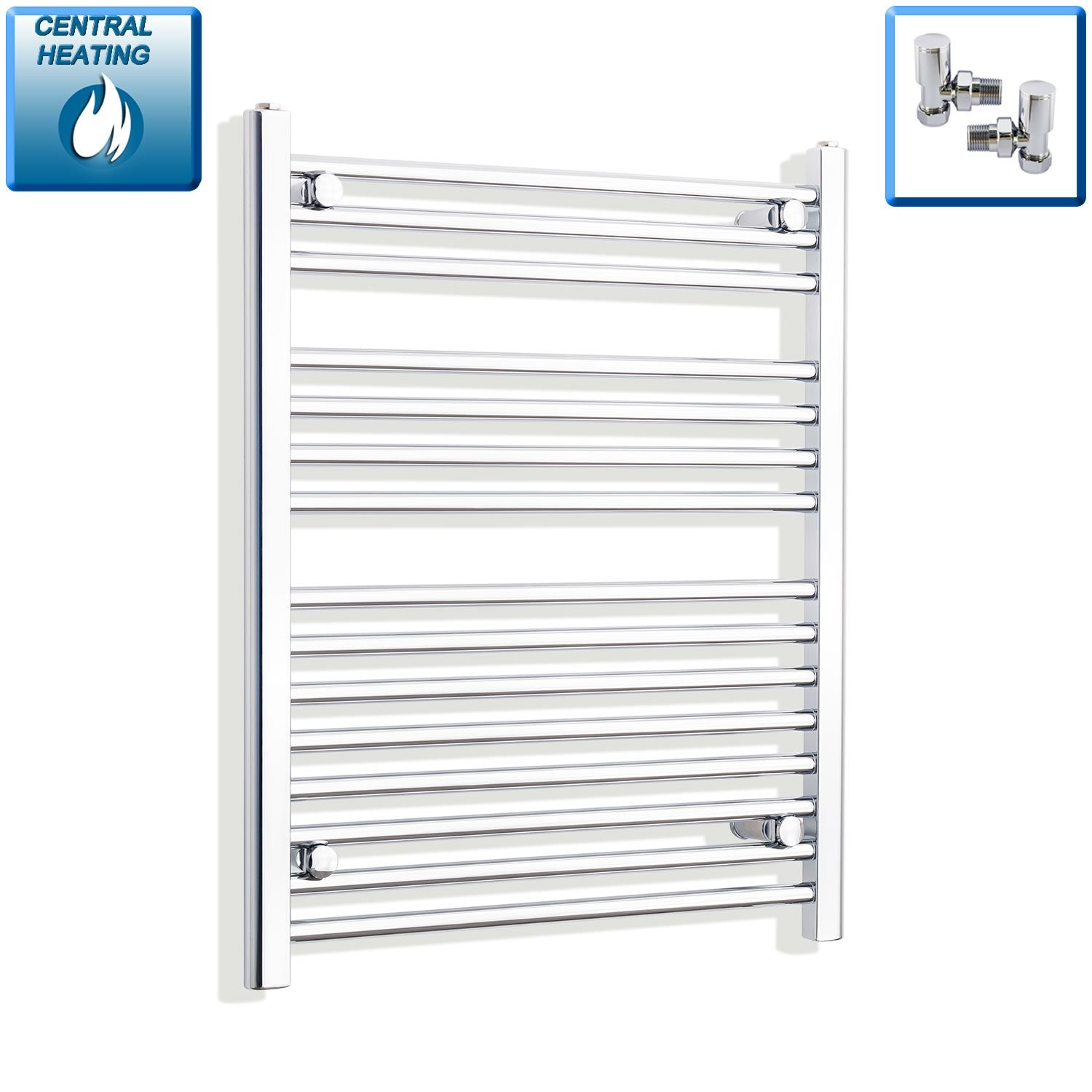 650mm Wide 800mm High Flat Chrome Heated Towel Rail Radiator HTR,With Angled Valve