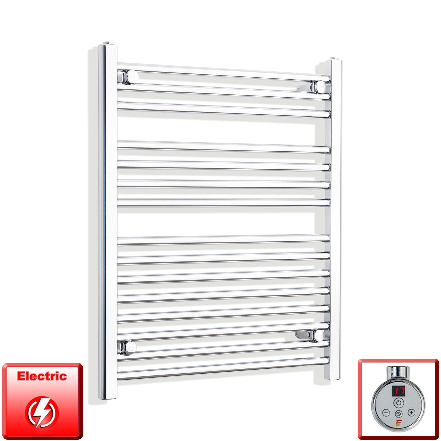 650mm Wide 800mm High Flat Chrome Pre-Filled Electric Heated Towel Rail Radiator HTR