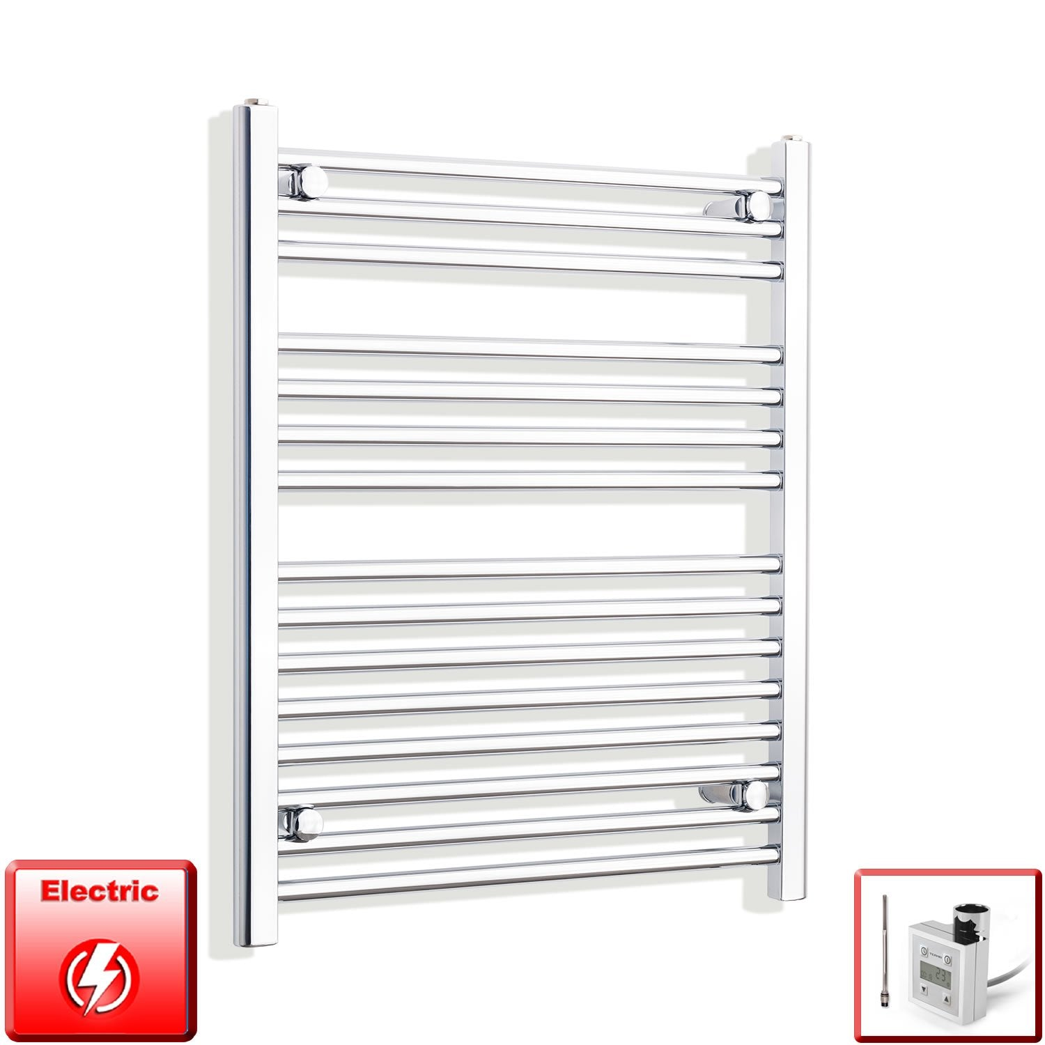 650mm Wide 800mm High Flat Chrome Pre-Filled Electric Heated Towel Rail Radiator HTR,KTX-3 Thermostatic Element