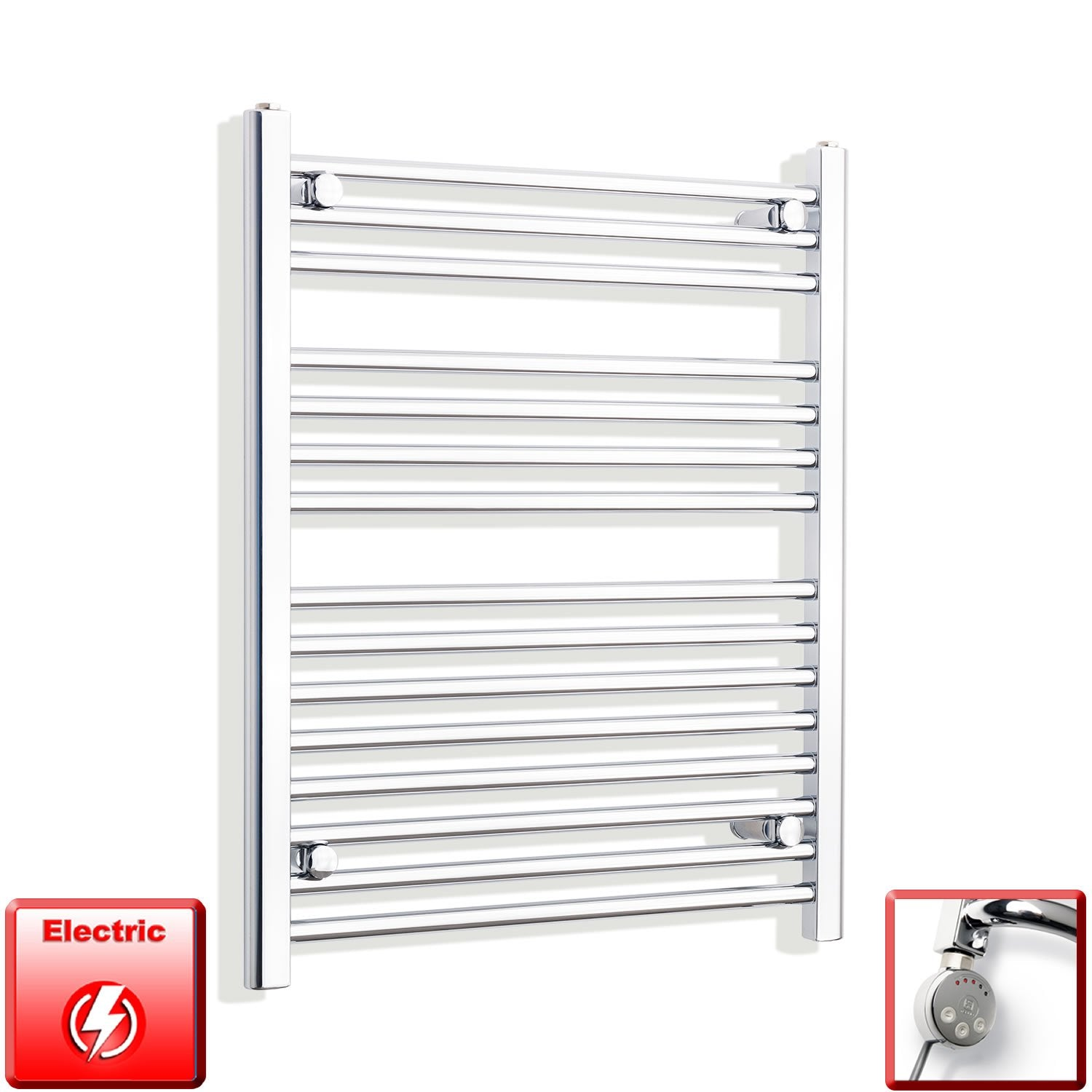 650mm Wide 800mm High Flat Chrome Pre-Filled Electric Heated Towel Rail Radiator HTR,MEG Thermostatic Element