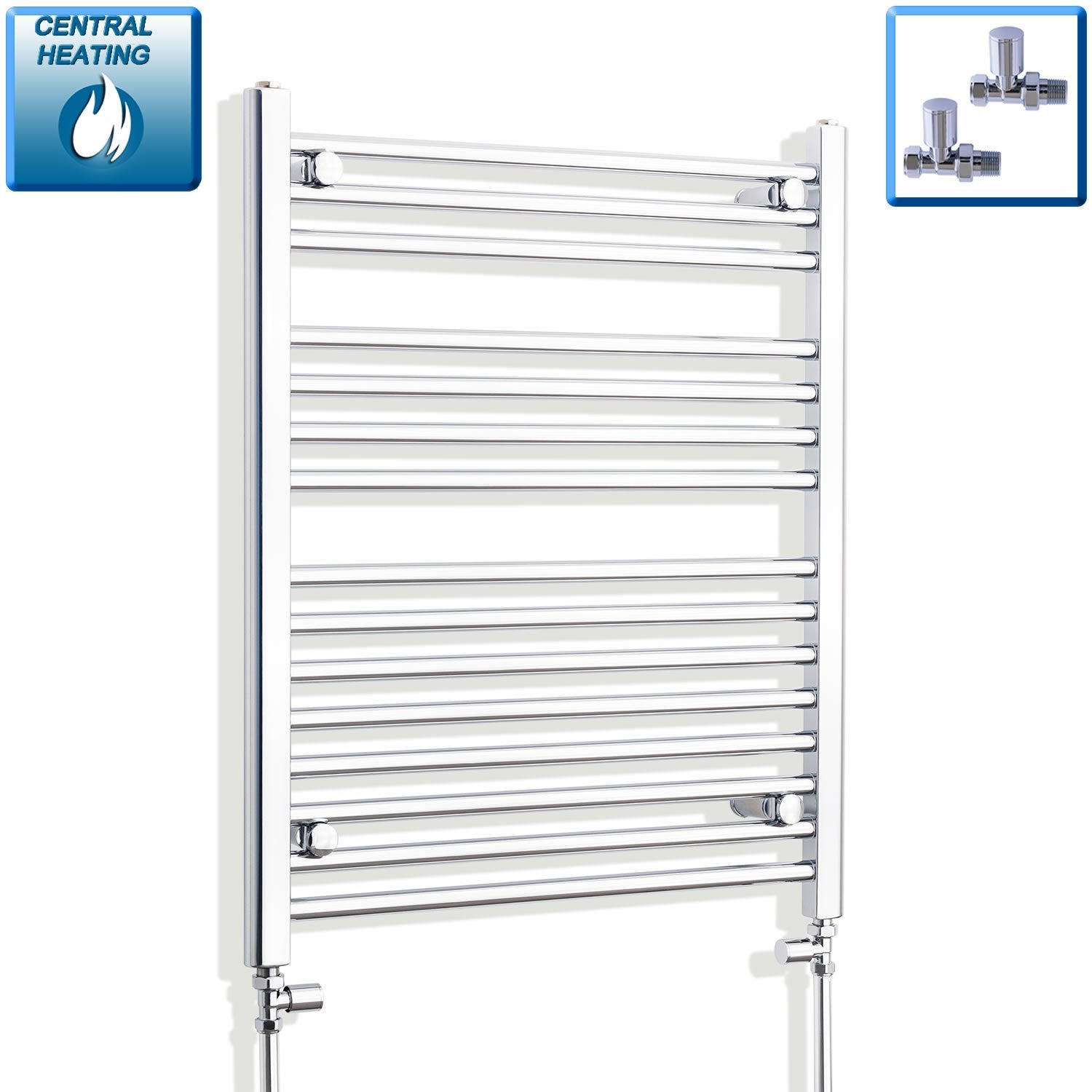 650mm Wide 800mm High Flat Chrome Heated Towel Rail Radiator HTR,With Straight Valve