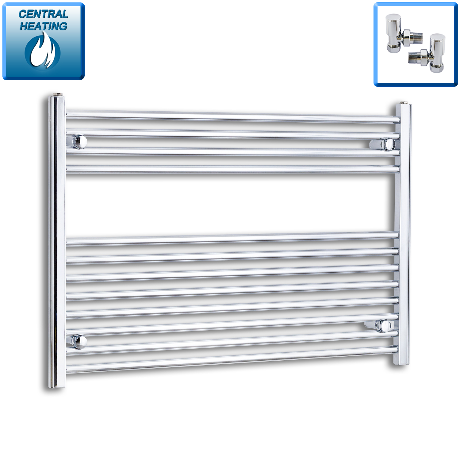 1000mm Wide 700mm High Flat Chrome Heated Towel Rail Radiator HTR,With Angled Valve