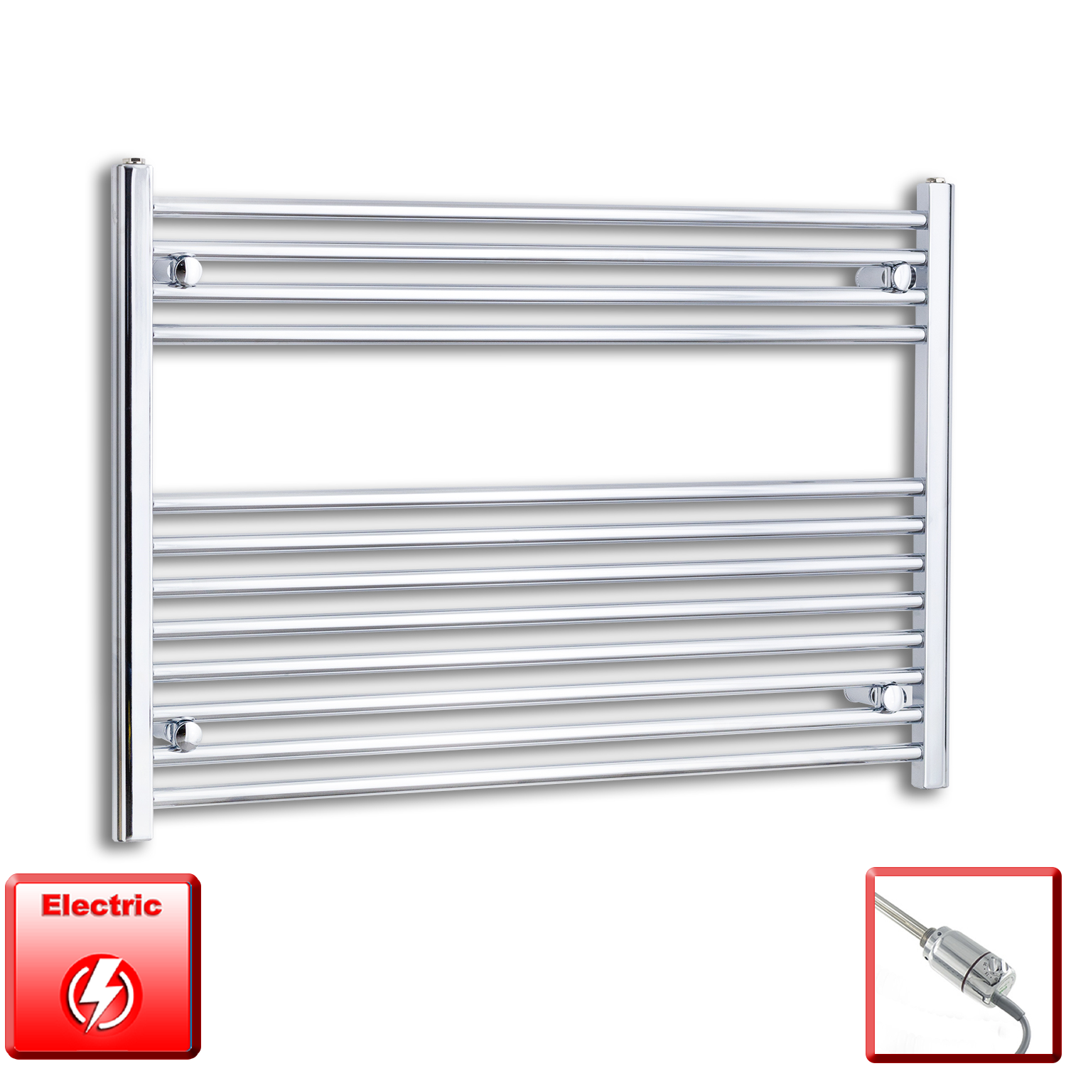 1000mm Wide 700mm High Flat Chrome Pre-Filled Electric Heated Towel Rail Radiator HTR,GT Thermostatic