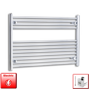 1000mm Wide 700mm High Flat Chrome Pre-Filled Electric Heated Towel Rail Radiator HTR,KTX-3 Thermostatic Element