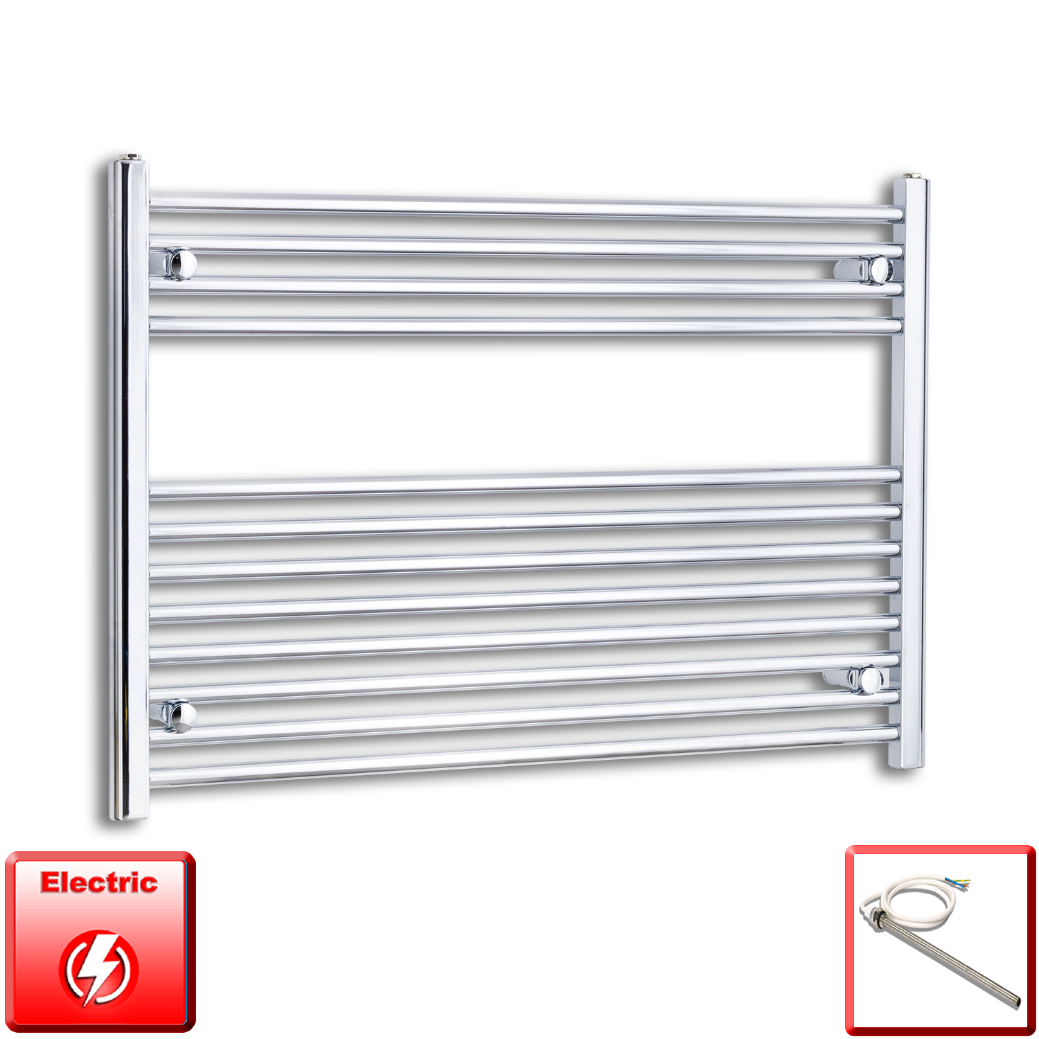 1000mm Wide 700mm High Flat Chrome Pre-Filled Electric Heated Towel Rail Radiator HTR,Single Heat Element