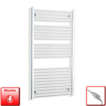 700mm Wide 1300mm High Flat Or Curved Chrome Pre-Filled Electric Heated Towel Rail Radiator HTR,GT Thermostatic / Straight
