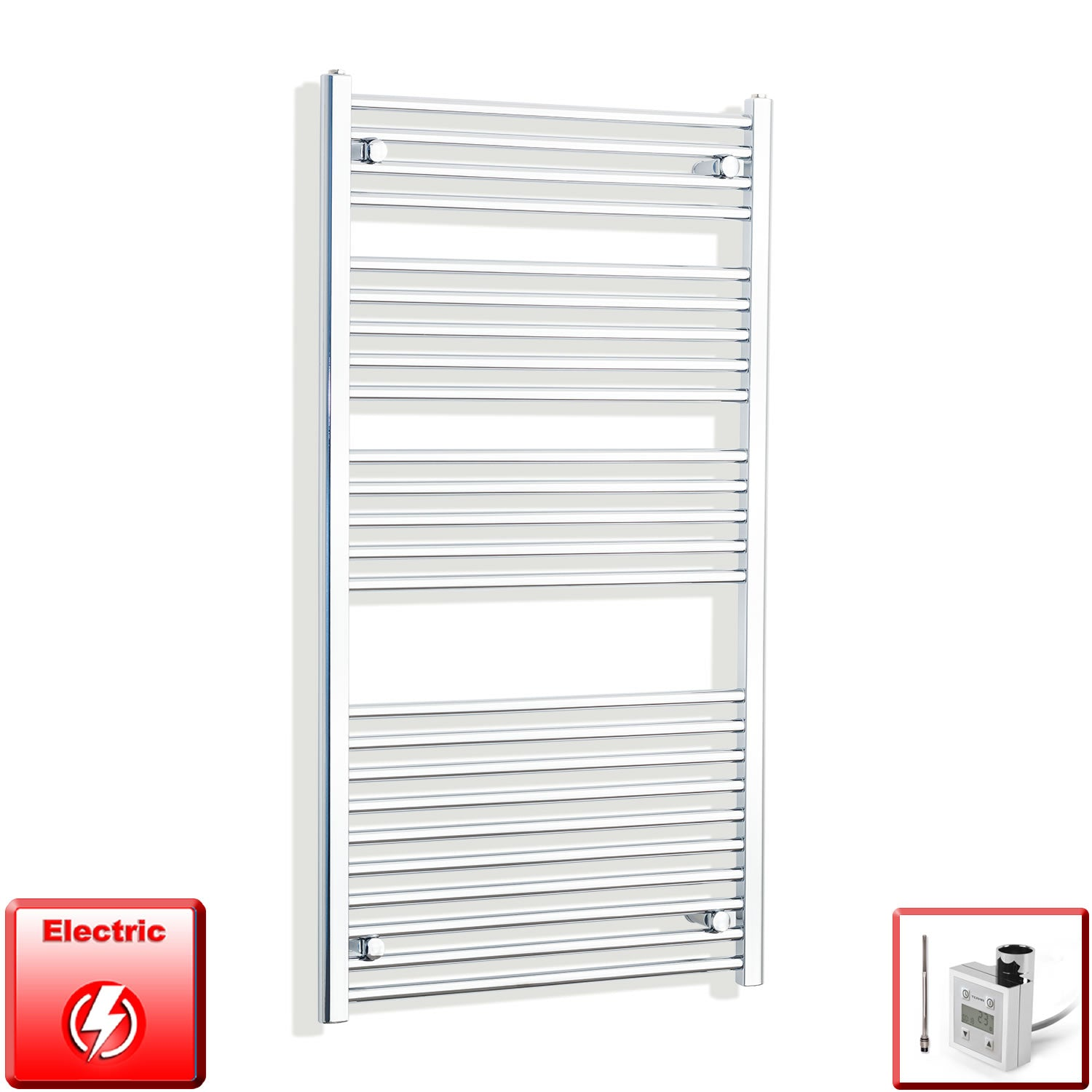 700mm Wide 1300mm High Flat Or Curved Chrome Pre-Filled Electric Heated Towel Rail Radiator HTR,KTX-3 Thermostatic Element / Straight