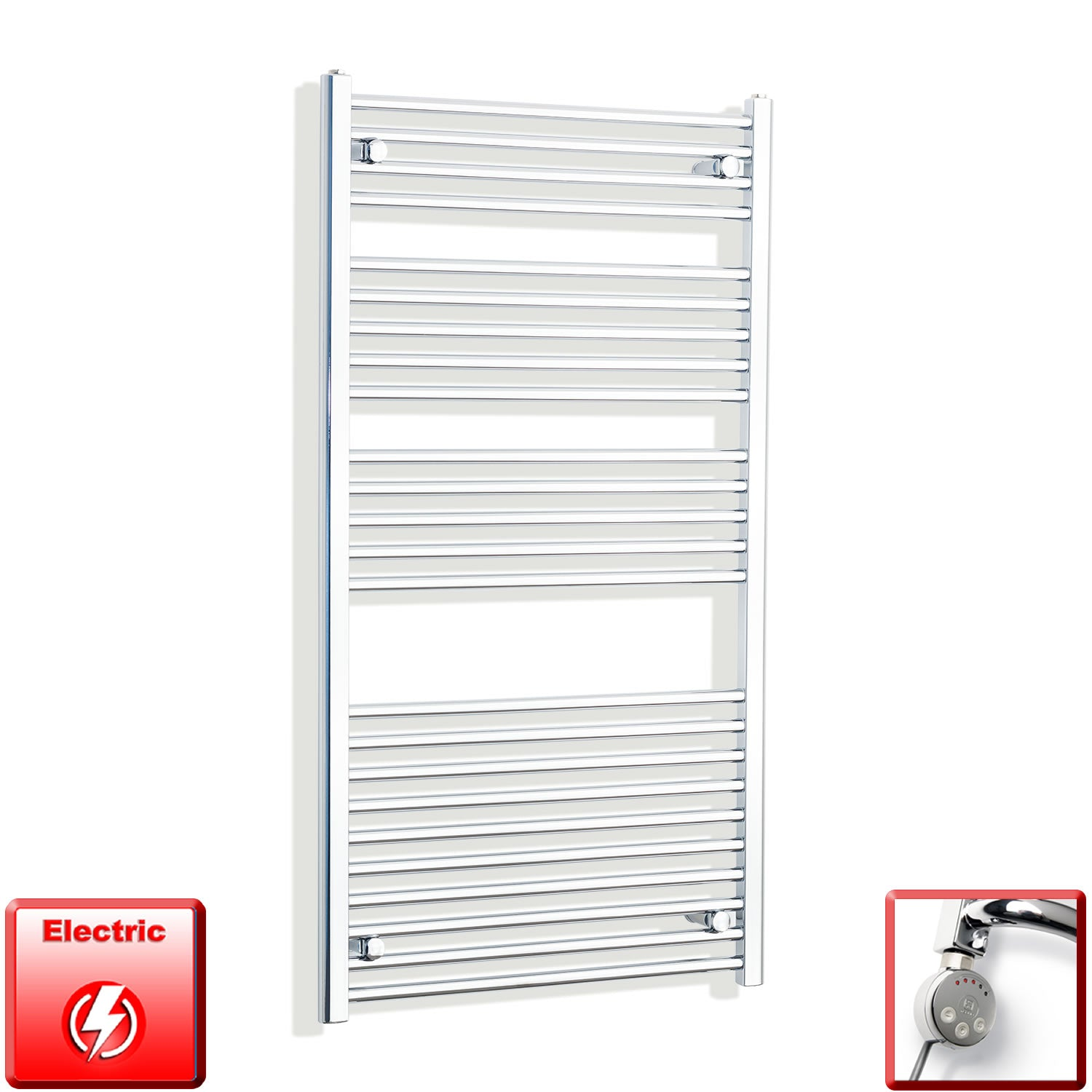 700mm Wide 1300mm High Flat Or Curved Chrome Pre-Filled Electric Heated Towel Rail Radiator HTR,MEG Thermostatic Element / Straight