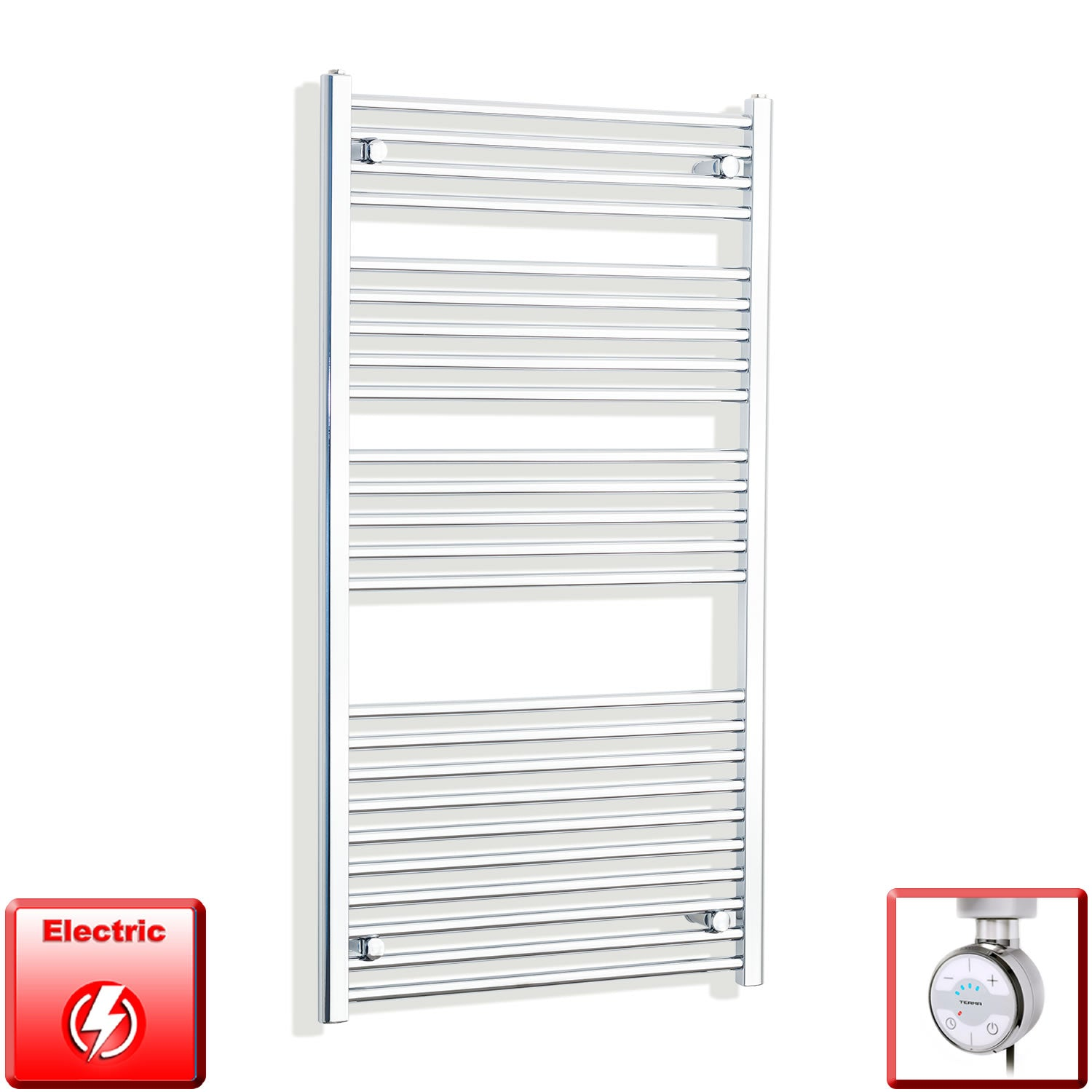700mm Wide 1300mm High Flat Or Curved Chrome Pre-Filled Electric Heated Towel Rail Radiator HTR,MOA Thermostatic Element / Straight