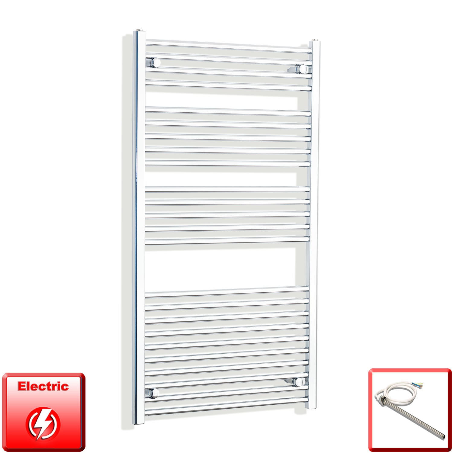 700mm Wide 1300mm High Flat Or Curved Chrome Pre-Filled Electric Heated Towel Rail Radiator HTR,Single Heat Element / Straight