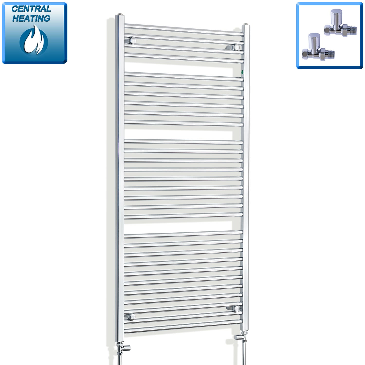 750mm Wide 1500mm High Curved Chrome Heated Towel Rail Radiator HTR,With Straight Valve