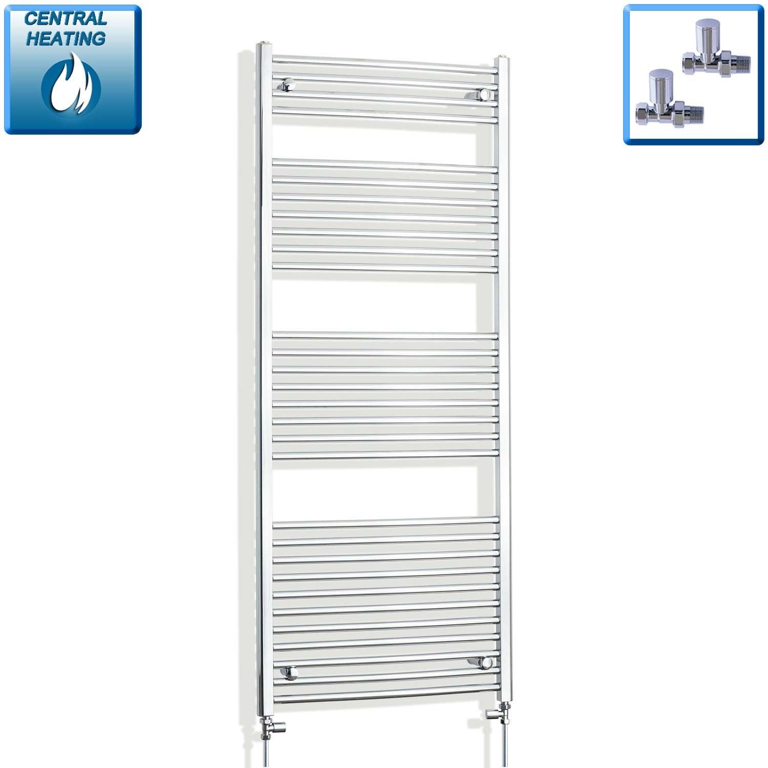 700mm Wide 1700mm High Flat Chrome Heated Towel Rail Radiator HTR,With Straight Valve