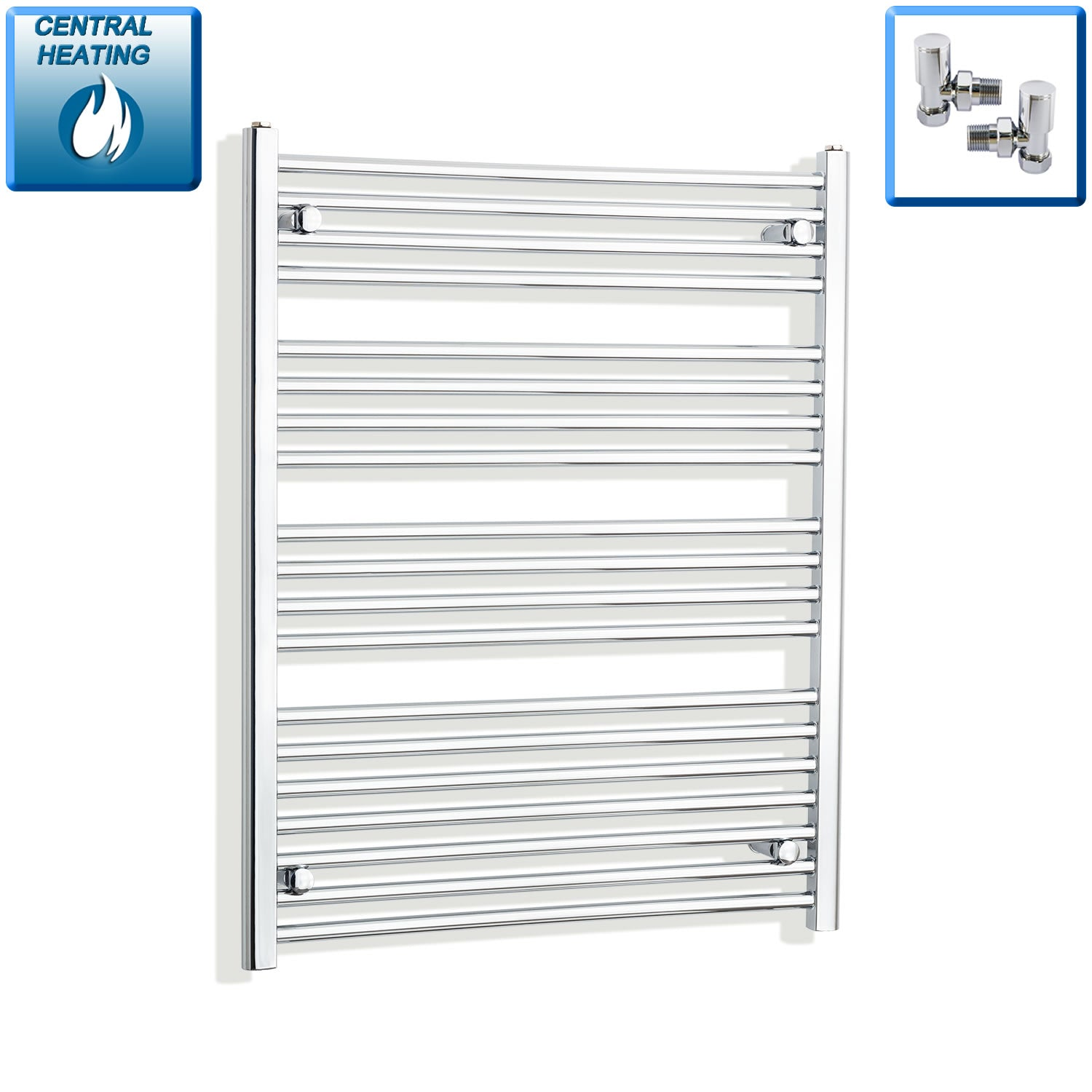 750mm Wide 1000mm High Flat Chrome Heated Towel Rail Radiator HTR,With Angled Valve