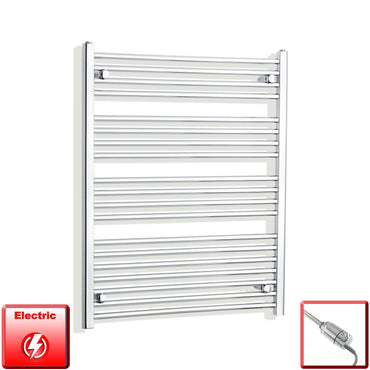 750mm Wide 1000mm High Flat Or Curved Chrome Pre-Filled Electric Heated Towel Rail Radiator HTR,GT Thermostatic / Straight