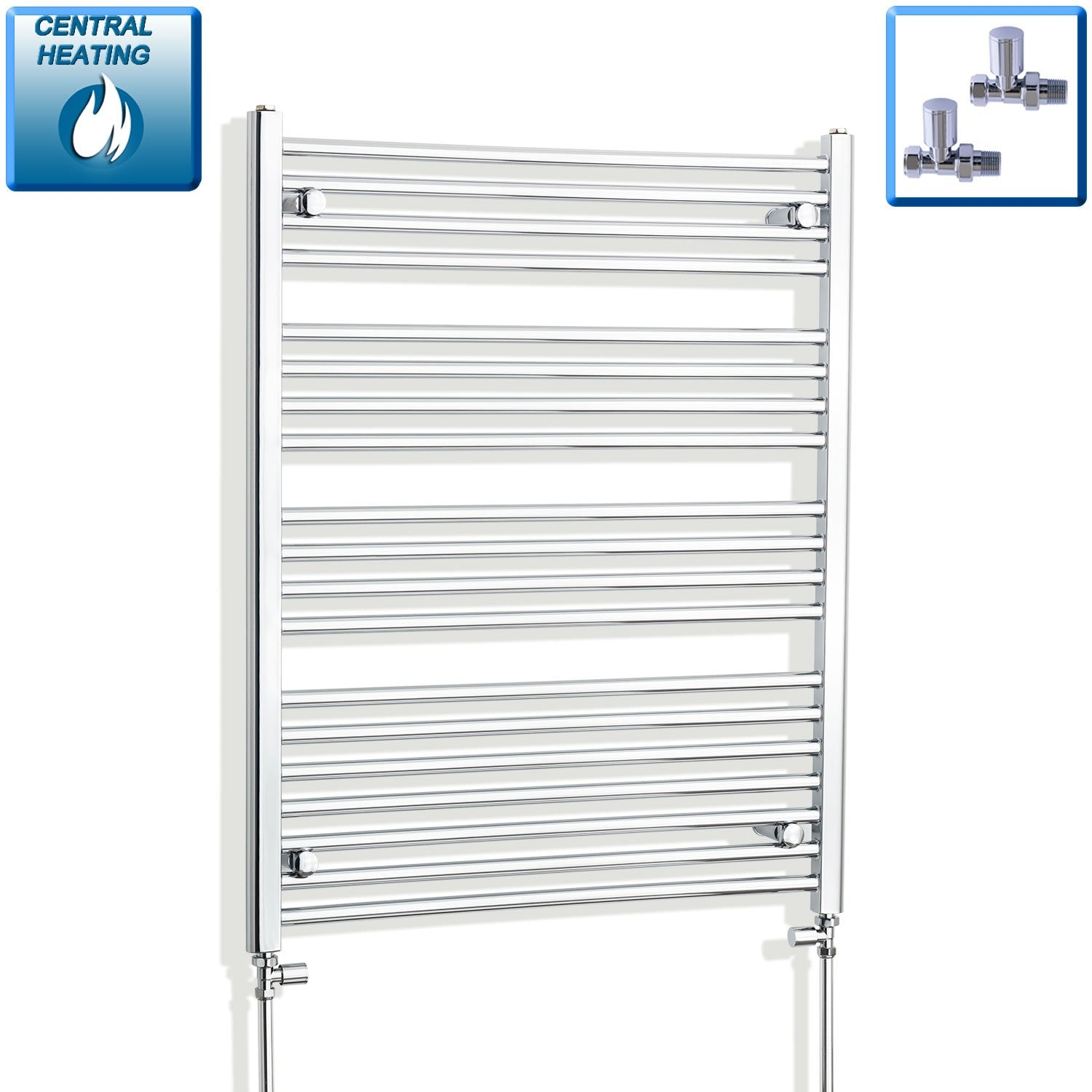 750mm Wide 1000mm High Curved Chrome Heated Towel Rail Radiator HTR,With Straight Valve