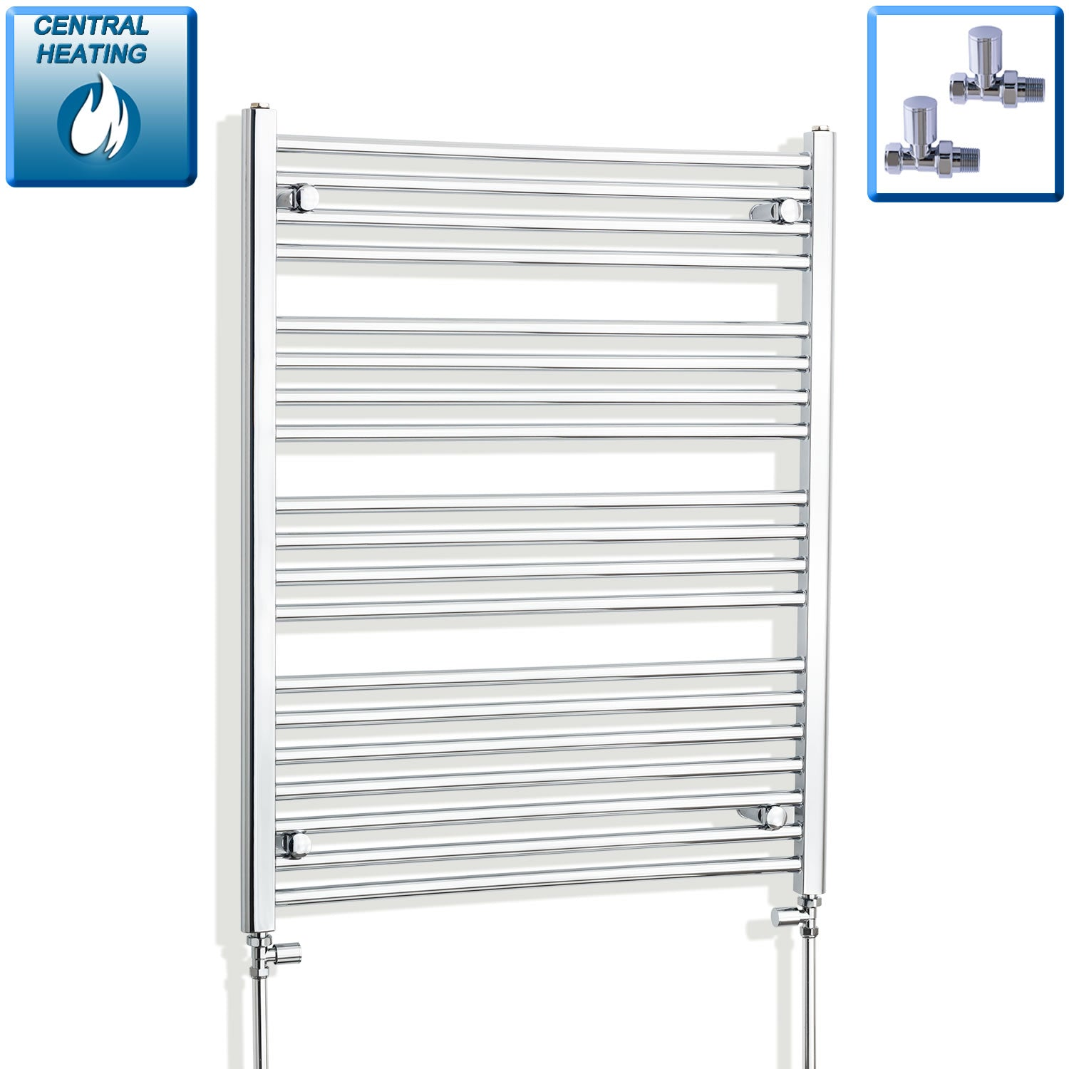 750mm Wide 1000mm High Flat Chrome Heated Towel Rail Radiator HTR,With Straight Valve