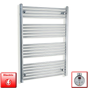 750mm Wide 1100mm High Flat Or Curved Chrome Pre-Filled Electric Heated Towel Rail Radiator HTR