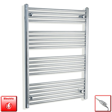 750mm Wide 1100mm High Flat Or Curved Chrome Pre-Filled Electric Heated Towel Rail Radiator HTR,GT Thermostatic / Straight