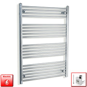 750mm Wide 1100mm High Flat Or Curved Chrome Pre-Filled Electric Heated Towel Rail Radiator HTR,KTX-3 Thermostatic Element / Straight