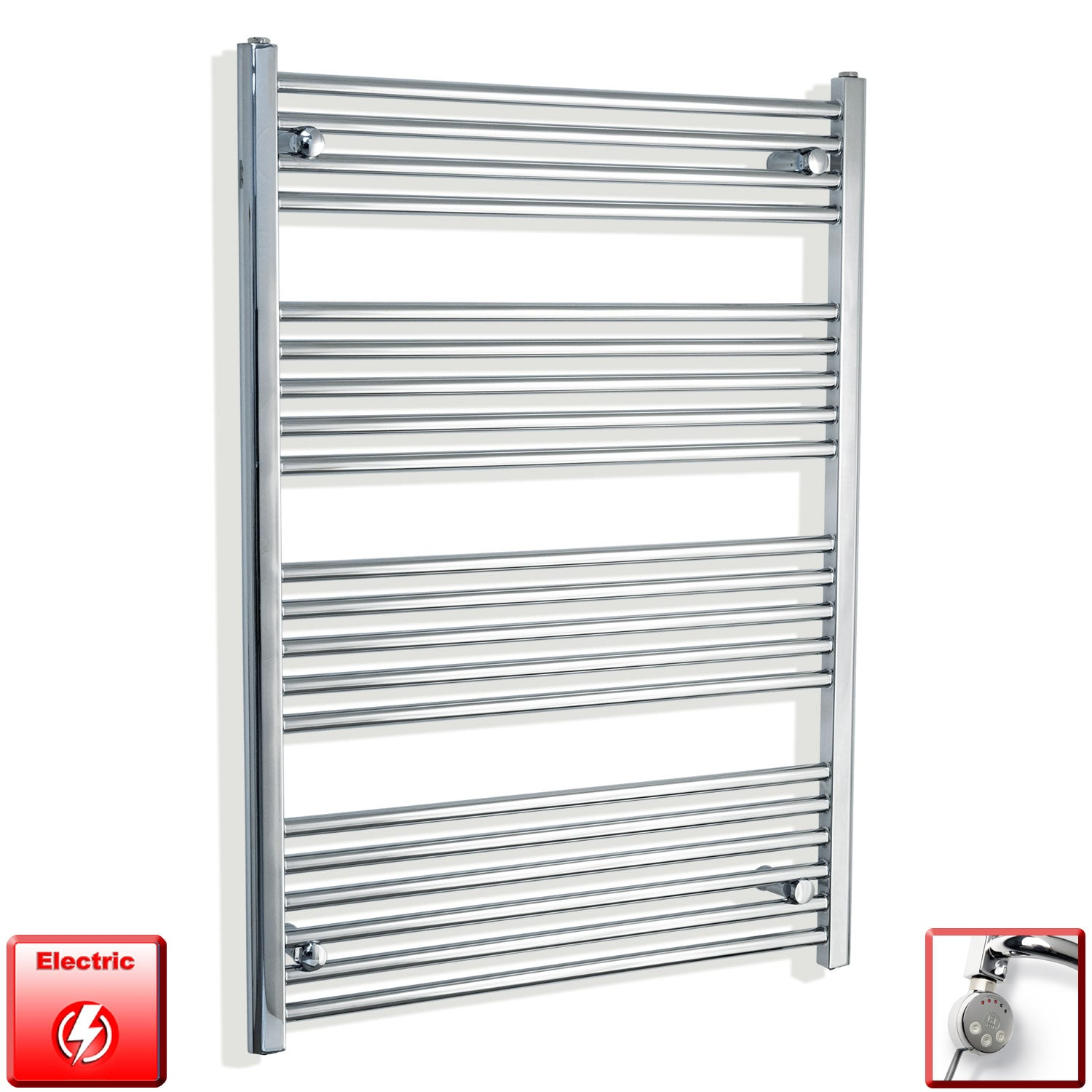 750mm Wide 1100mm High Flat Or Curved Chrome Pre-Filled Electric Heated Towel Rail Radiator HTR,MEG Thermostatic Element / Straight