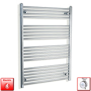 750mm Wide 1100mm High Flat Or Curved Chrome Pre-Filled Electric Heated Towel Rail Radiator HTR,MOA Thermostatic Element / Straight